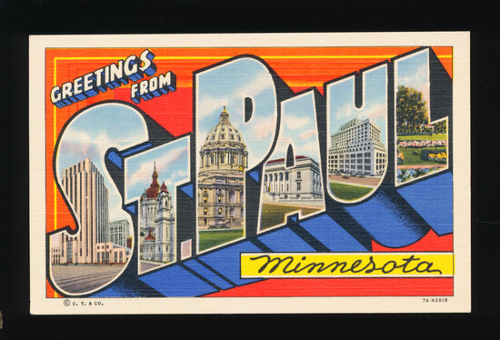 1940s Greetings from St. Paul, Minnesota.  SIZE:  Standard; CONDITION:  Cho