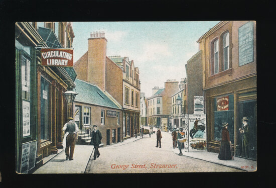 1920s George Street, Stranraer With Circulating Library Sign at Left and Bu