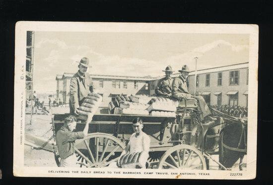 (1898) Delivering the Daily Bread to the Barracks Camp Travis, San Antonio,