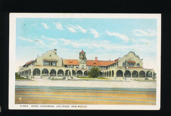 1924 R.P.O. Hotel-Castaneda, Las Vegas, New Mexico.  SIZE:  Standard; CONDI
