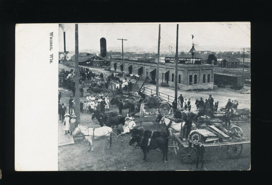 1909 Wausau, Wisconsin across from Chicago-North-Western Freight Office and