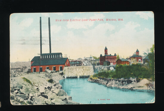 1911 View from Electric Light Plant Pier at Wausau, Wis.  SIZE:  Standard;