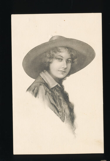 1912 Lovely Long-Haired Cowgirl by Schlesinger Bros. NY.  SIZE:  Standard;