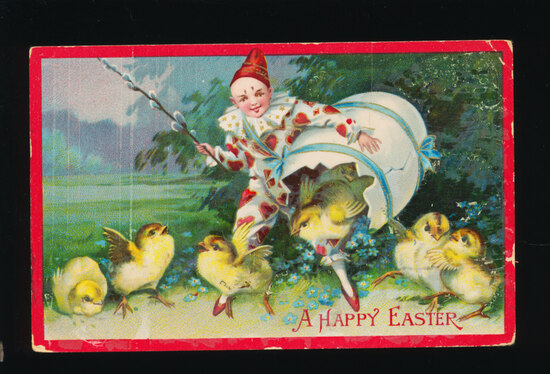 1913 Clown Rescues baby Chicks from Broken Egg.  SIZE:  Standard; CONDITION