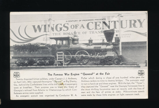 (1933) The Famous Civil War Locomotive GENERAL at the (CPIE) Fair  Historic