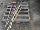 PALLET OF MISC YARD TOOLS