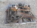 PALLET OF SAWS/ ANTIQUE HAY FORKS