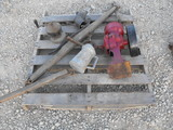 PALLET OF MISC--DOUBLE TREE, BELT GRINDER,WATER CAN