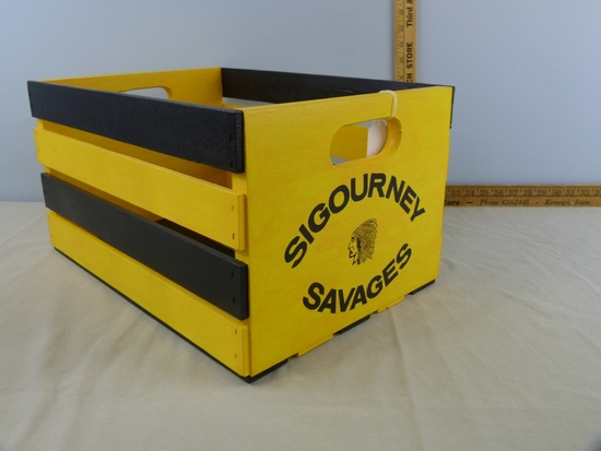 Black & Gold wooden crate with decals made by Jim Thompson