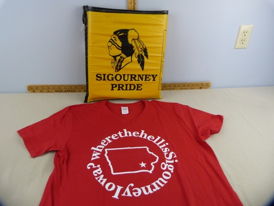 "1980's Sigourney Pride stadium cushion & ""Where the hell is?"" t-shirt"