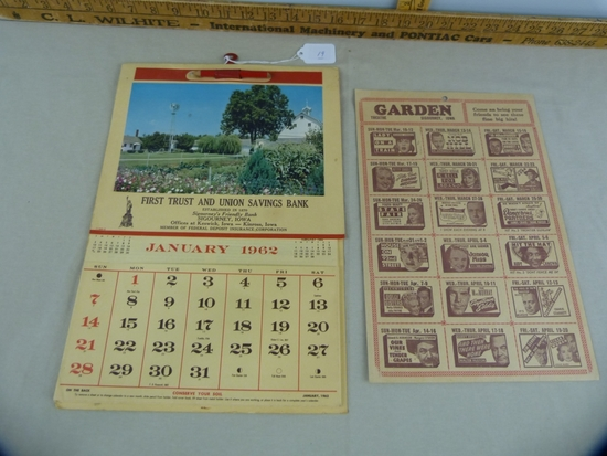 1962 First Trust & Union Savings Bank calendar & March/April Garden Theatre movie slate poster, x