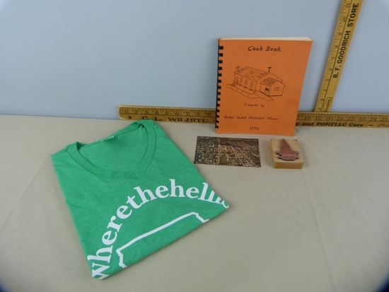 4 Sigourney items:  cookbook, postcard, t-shirt, & stamp