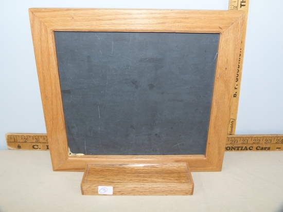 Mini-chalkboard using reclaimed wood and chalkboard from the old High School.