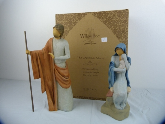 """Willow Tree """"The Christmas Story"""" - Joseph and Mary with baby Jesus figurines"""