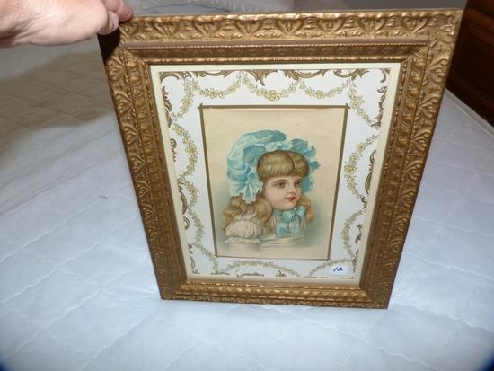 """Framed """"Blue Bonnet Girl"""" - 14-1/4"""" W x 17-1/4"""" T in frame"""