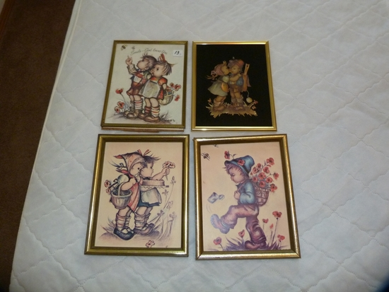 """4 Hummel type pictures - frames 10-1/2"""" x 8-3/4"""" approx."""