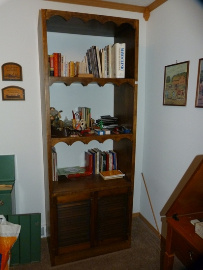 """Wooden bookcase with vented lower cabinet doors - 83-1/2"""" T x 31"""" W x 18"""" D"""