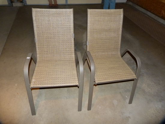 Pair of mesh stacking lawn chairs