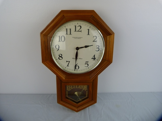 """Sterling & Noble Westerminster Chime wall clock - battery operated, 20-3/4"""" T"""