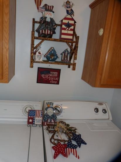 11 R-W-B patriotic wall decorations and small shelf