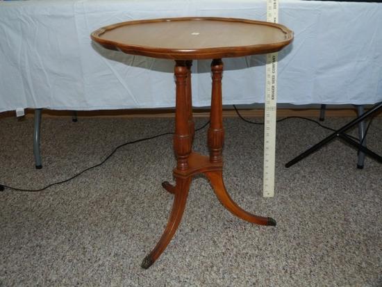 "Round top, 3 legged parlor table, serpentine edge - 27-1/4"" T, 24-1/4"" D"