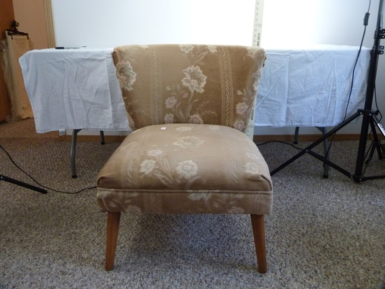 """Upholstered side chair with wood legs - 30-1/4"""" T, 23-1/2"""" across seat"""