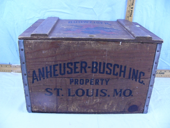 "Budweiser hinged lid wooden ammo box - 18"" L x 11-1/2"" T x 11-3/4"" D"