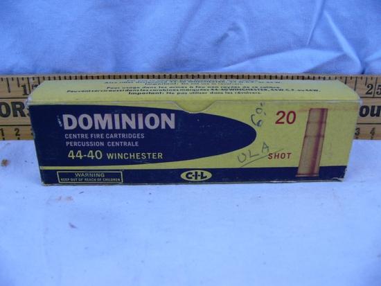 Ammo: 1 box Dominion 44-40 Winchester, 20 rds