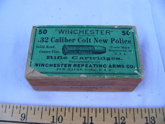 Ammo: 1 box Winchester .32 Colt New Police, 50 rds, sealed box