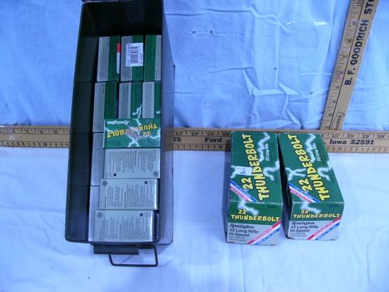 Ammo: Remington 22 Thunderbolt,  6 bricks of 500 rds plus metal ammo box - AOM