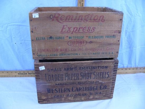(2) wooden ammo boxes: Remington Express 20 ga 2-3//4 7-1/2 shot & Western 16 ga 2-9/16 - 2x$