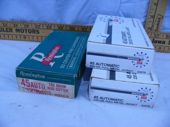 Ammo: 3 boxes,  .45 Auto, 50 rds - 3x$