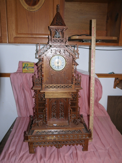 """Beautifully scrolled mantle clock: 39"""" T x 17-5/8"""" W x 10"""" D hand made by Russ Aldinger"""