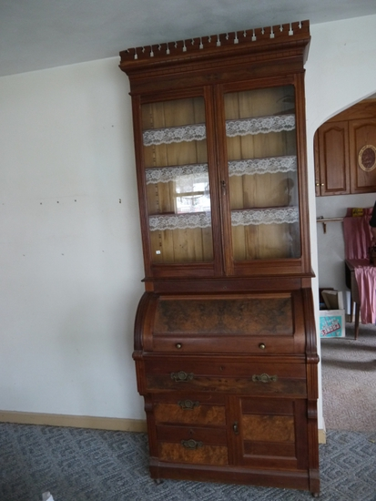 "Burled walnut cylinder desk/hutch: 36"" W x 22-1/2"" D x 92"" T"