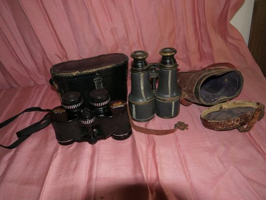 Binoculars: GLB, Paris antique w(rough) case & Tasco 7x35 Model 118 Featherweight w/case