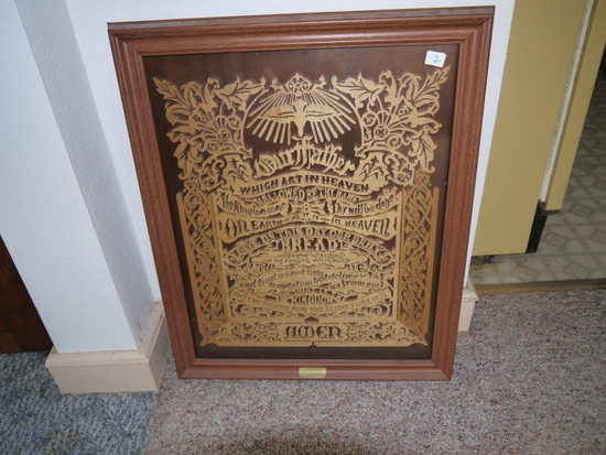 Framed Lord's Prayer cut out in scroll, hand crafted by Russ & Ramona Aldinger