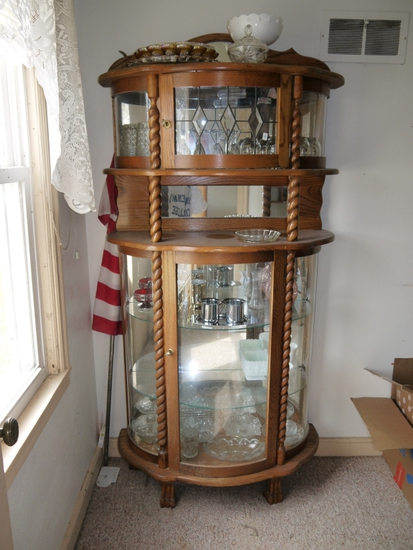 """Newer oak china hutch, scrolled columns - 72"""" T x 35"""" W x 16"""" D"""