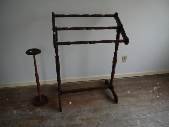 """Walnut plant stand - 27-1/2"""" T and quilt rack 29"""" W x 42"""" T"""