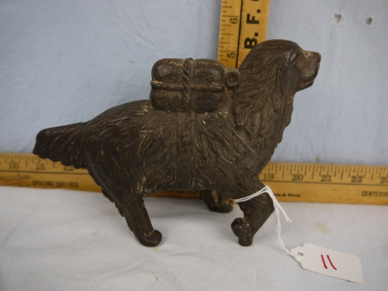 "Cast iron rescue dog bank with replacement screw, 5"" tall x 7"" long"