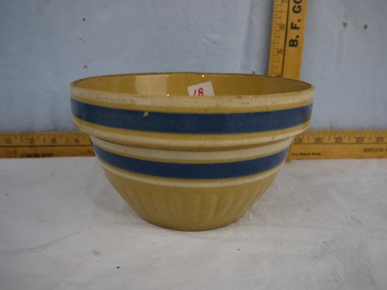 "Yelloware blue band bowl, 7"" diameter, good condition"