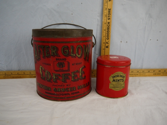 (2) tins: After Glow Coffee 4 pounds & Snow Drop Mints one pound