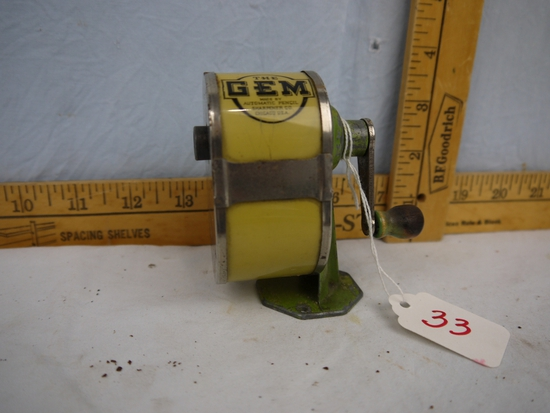 """The Gem pencil sharpener, table top mount, 3-1/2"""" tall, celluloid catch container"""