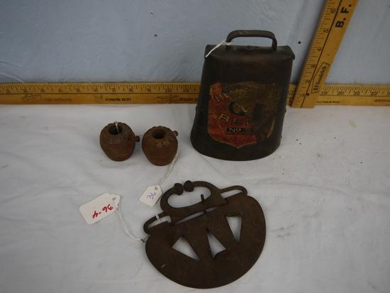 (4) bovine items: No. 2 Holstein bell (partial label), (2) Durein horn weights, & calf weener