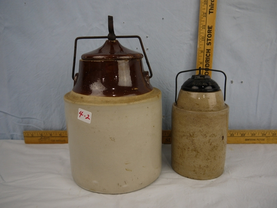 (2) crock canning jars with bails - Weir pint size & unmarked half-gallon size