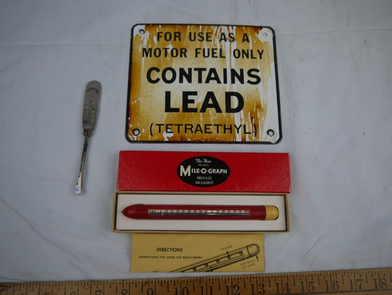 "(3) auto items: Mile-O-Graph in box, Marathon screwdriver, 6"" x 7"" Contains Lead enamel sign"