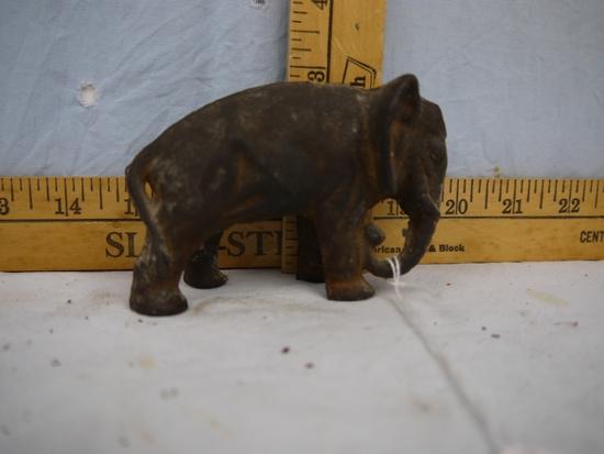 "Cast iron elephant bank, 2-3/4"" tall"