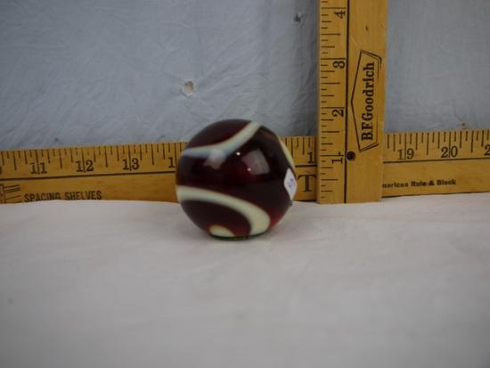 "Red marble swirl gear shift knob; 2"" diameter"