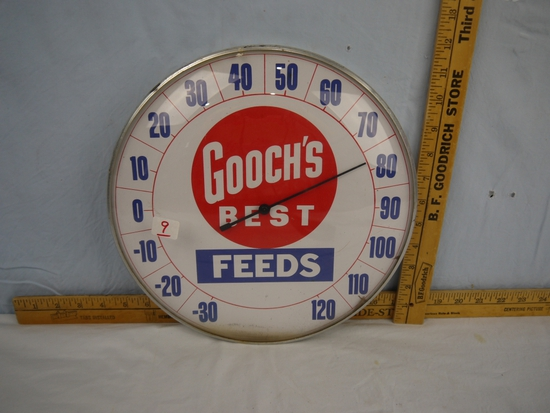 "Gooch's Best Feeds advertising thermometer, 12"" diameter."