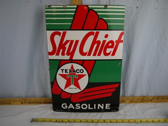 "Enamel Sky Chief Texaco Gasoline sign - 18"" tall x 12"" wide"