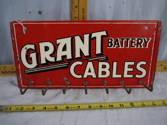 "Grant Battery Cables metal sign, 14-1/4"" wide x 7"" tall, 7 hooks"